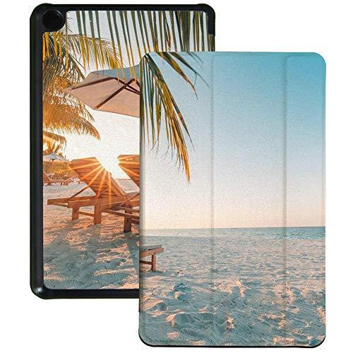 QIYI Funda para Kindle Fire 7 (9ª generación, 2019) de piel sintética impermeable Slimshell Kids Tablet Shell Multi-Angular Viewing Folio Cover con Auto Wake/Sleep - Sillas en la playa