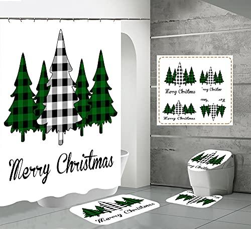 CQFFCG Juego de alfombras de baño 4 Piezas de baño de Serie navideña con Cortinas de Ducha Alfombrillas de baño Antideslizantes Impermeables Conjuntos(Forma 40)