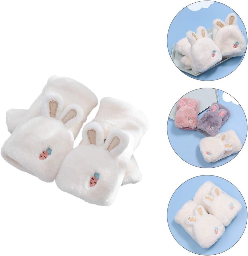 SOIMISS Plush Half Finger Gloves Cute Rabbit Flip Top Mittens Warm Faux Fur Holiday Fingerless Gloves Gift for Women Kids Girls