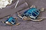 Designer-Figur Dekofigur Schildkröte Josie aus Poly · blau/silber Länge 18 cm - 2