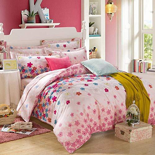 Bett-Set mit Bettbezug und Kissenbezug, Baumwolle Bettwäsche, Vierer-Twill aktivem Druck-und Färben-E_200 * 230cm, Bettwäsche und Kissenbezügen Sets Baibao (Color : O, Size : Double(200 * 230cm))