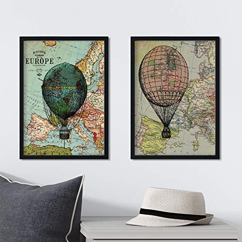 Pack de láminas Vintage de mapas. Ilustraciones sobre Antig