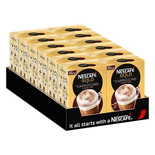 Nescafé Gold Typ Cappuccino, Cremig Zart, Löslicher Bohnenkaffee, Instantkaffee, Kaffee, 12 x 10 Portionen, 12321032