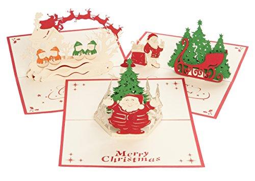 Biglietto di auguri natalizi, da regalo, di Buon Natale, con busta; pieghevole, animato, con albero di Natale, Babbo Natale, angelo, 3D