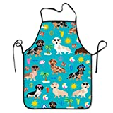 Cilouebghg Waterproof Bib Aprons Long Ties for Dinner Dog Grooming Men - Liquid Drop Resistant, Machine Washable Comfortable and Easy Care Aprons, Dachshund Dog