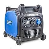 Hyundai HY6500SEi Petrol Inverter 6600w 6.6kW 8.25kVA Remote Key Start, Portable, Outdoor Camping Power Generator, Blue/Black
