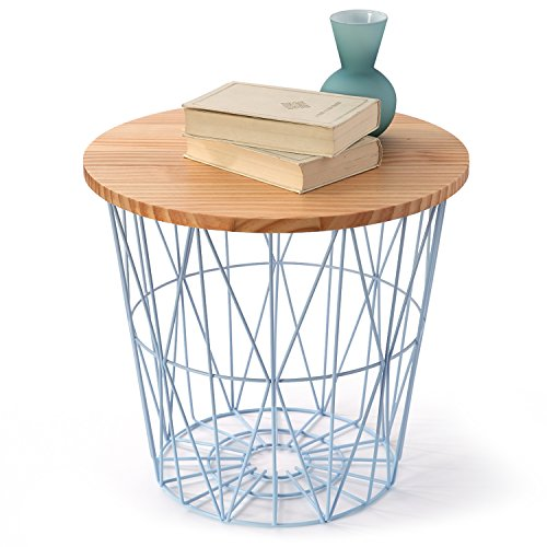 LOWYA ロウヤ ワイヤーバスケット バスケット おもちゃ収納 高さ39cmナチュラル/ブルー