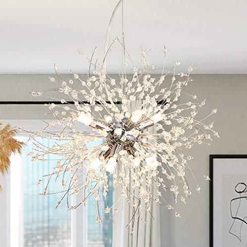 LynPon Sputnik Kronleuchter Moderner 8-Flammig Kristall Pendelleuchte Deckenleuchte Nickel Hängelampe für Wohnzimmer Schlafzimmer küche(Durchmesser 15,7'')