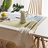 Elome Tassel Linen Rectangle Blue Green Tablecloth Oblong 55 Inch X 96 Inch Heavy Weight Washable Cotton Vintage Lace Dust-Proof Home Decor for Party Dinner Table Cover Kitchen Dinning