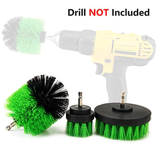 ETERNA 3Pc Drill Brush Set Cleaning Tool Attachment Kit for Scrubbing Cleaning Tile, Grout, Shower, Bathtub (Green)