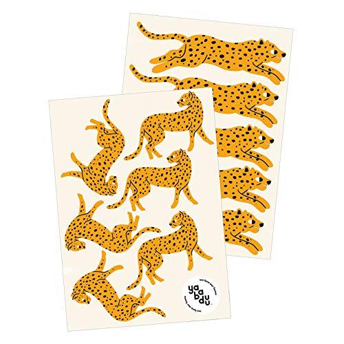 yabaduu Y016 Geparden Leopard Wandtattoo Wandsticker Aufkleber für Kinderzimmer Babyzimmer Afrika Savanne Katze Raubkatze (Orange)
