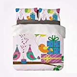Juego de funda nórdica con decoraciones de cumpleaños para niños, juego de cama suave de 3 piezas, pájaros cantantes, banderas de canciones de feliz cumpleaños, sombreros de cono, pastel de fiesta par