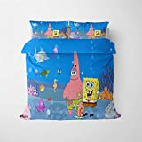 BMKJ Juego de ropa de cama infantil con diseño de Bob Esponja, funda de edredón y funda de almohada (12,140 x 210 cm)