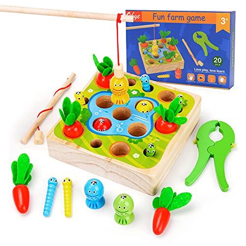 Juguete de madera para 1, 2, 3 años, niños y niñas, juguete Montessori para 12, 24 y 36 meses, juguete pedagógico, regalo de cumpleaños para niños de 1 a 5 años