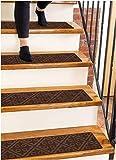 "Carpet Stair Treads Non-Slip Brown Embossed – 8""x30"" (15-Pack) Runners for Wooden Steps"