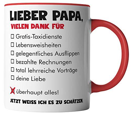 vanVerden Tasse - Lieber Papa vielen Dank für überhaupt alles - Tassen für Vatertag Spruch Vater - beidseitig Bedruckt - Geschenk Idee Kaffeetassen, Tassenfarbe:Weiß/Rot