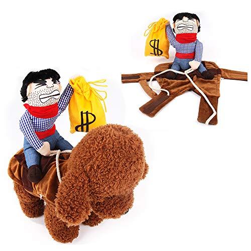 zfdg Cane Costume Cowboy, Cane Cowboy Rider, Vestiti per Cani da Cowboy, Costume Cowboy Cani Piccola, per la Decorazione di Halloween, Il Compleanno di Animali Domestici, la Festa in Costume (M)