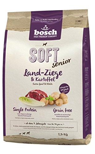 Bosch HPC SOFT Senior Ziege & Kartoffel | halbfeuchtes Hundefutter für ältere, ernährungssensible Hunde aller Rassen | Single Protein | Grain Free, 1 x 2.5 kg
