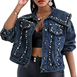 Ourjsncvns Women's Cropped Denim Jacket Fashion Pearl Decor Button Down Short Jean Coat Big Lapel Long Sleeve with Pocket-