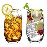 The7boX - Set di 2 bicchieri da acqua trasparenti con base pesante per acqua, cocktail, succhi di frutta, birra, vino, ecc.