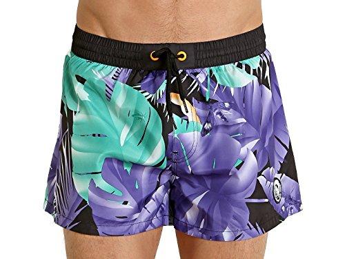 Diesel Men's Sandy Floral 12 Inch Swim Trunk, Purple/Green Leaf, Medium