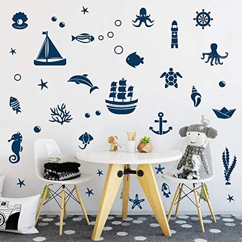 ANHUIB 40 Pezzi Mare Adesivi da Parete,Mare Animali Sticker da Muro per Bagno,Oceano Adesivo Murale per Camera Bambini,Blu Marini Animali Sticker Murali per Camera da Letto WC Asilo Nido Decorazioni