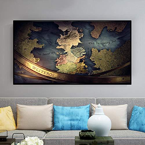 SNGTOW Juego de Tonos Seven Kingdoms Word Map Art Print Lienzo Pintura Pintura al óleo Póster Arte de Pared Moderno para la decoración de la Sala de Estar Hogar 70x120cm Sin Marco