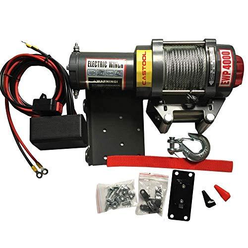 CASTOOL - Kit de cabrestante eléctrico de 12 V para recuperación ATV/UTV con Cable de Control Remoto (Capacidad de 2000 Libras)