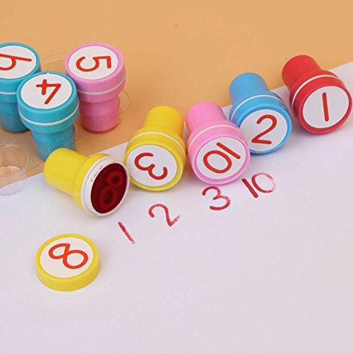 100/Set 1-10Zahlen Gummi-Stempel-Set Kinder Niedliches Kunststoff selbstfärbende Stempel: Toys Baby DIY Basteln