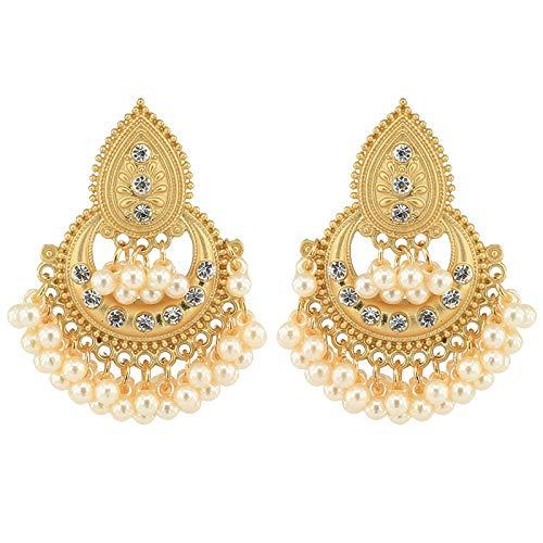COSYOO Lantern Big Tassel Ethnic Traditional Earrings Traditional Dangle Earrings Faux Pearl Stud Earrings