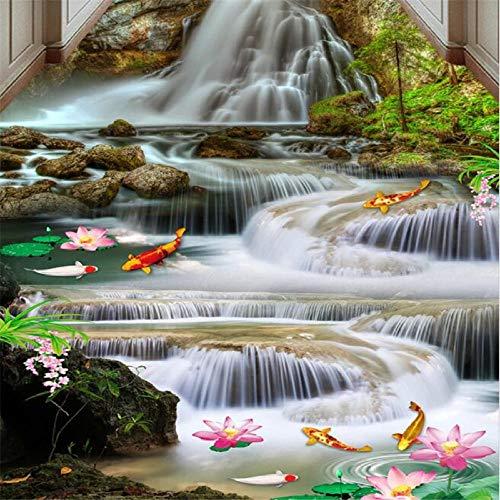 Pintura 3d personalizada pintura tridimensional cascada cascada que fluye y riqueza carpa lotus 3d azulejos 350x245cm