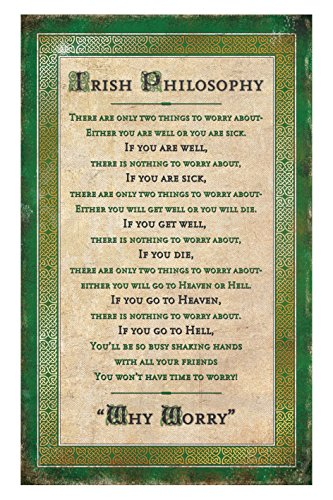 Irish Philosophy Tea Towel with a Green Boarder with Gold Celtic Design