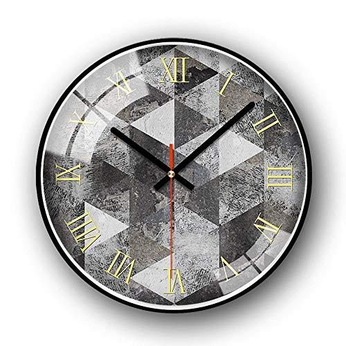 L.J.JZDY wandklok gele Romeinse cijfers 14 inch geometrische figuur modieuze wandklok Noord-Europa gecontracteerd Horologische moderne zitkamer kantoor siert klokken