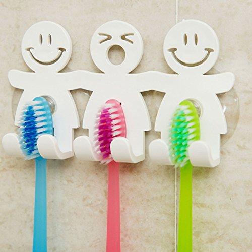 Bonito soporte para cepillos de dientes con ventosa para pared del baño, emoticono de cara sonriente, decoración del hogar