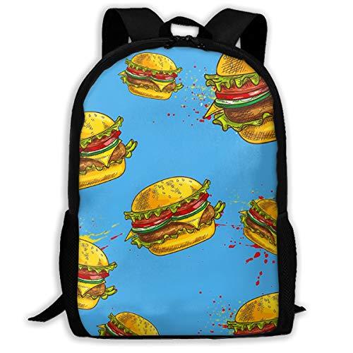 SARA NELL School Backpack Best Hamburger Blue Bookbag Casual Travel Bag For Teen Boys Girls