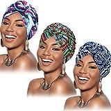3 Piezas Turbantes Africanos para Mujer Envoltura de Cabeza Gorro de Nudo Pre-Atado (Verde Rojo Prpura Flor)