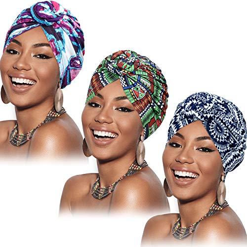 SATINIOR 3 Pezzi Turbante Africano per Donne Cofano Pre-Annodato a Nodo Cappello a Cuffia (Fiore Viola Rosso Verde)
