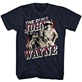John Wayne American Legend Hollywood Actor The Duke on Horse Adult T-Shirt Tee Navy