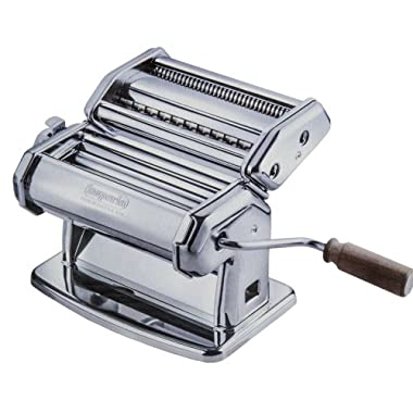 Imperia Pasta Maker Machine - Heavy Duty Steel Construction w Easy Lock Dial and Wood Grip Handle- Model 150 Made in Italy