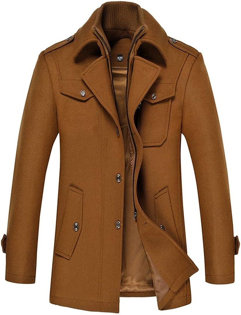 Winter Warm Wool Blend Coat Men Thick Overcoat Topcoat Men Double Collar Jackets Coat Wool Casaco