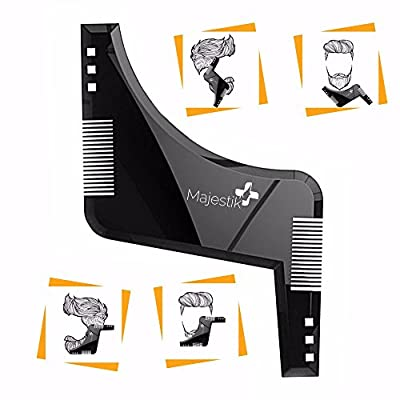 The Beard Styling Template- Stencil for Men - Lightweight and Flexible - One Size Fits All - Curve Cut, Step Cut, Neckline & Goatee Beard Shaping Tool in Black by JLS Personal Care Ltd.