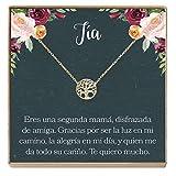Collar Regalo Para Tía: Joyería, Cumpleaños, Día de la Mujer, Sobrina a Tía, Tree (gold-plated-brass, NA)