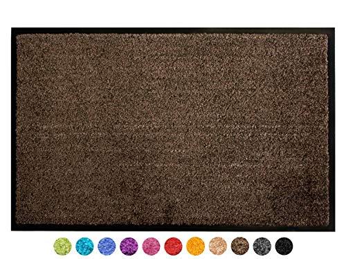 Primaflor - Ideen in Textil Schmutzfangmatte CLEAN – Braun 60x90 cm, Waschbare, rutschfeste, Pflegeleichte Fußmatte, Eingangsmatte, Küchenläufer Sauberlauf-Matte, Türvorleger für Innen & Außen