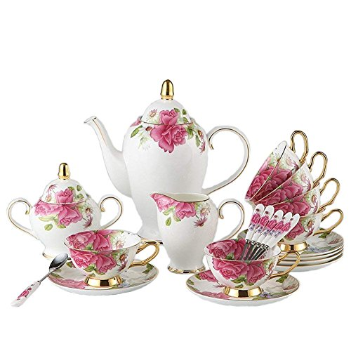 TouchLife Juego de tazas de té con platillo hechas de porcelana fina con diseño de rosas de color blanco y rosado, Porcelana de ceniza de hueso, 21 Pcs, 21 pcs