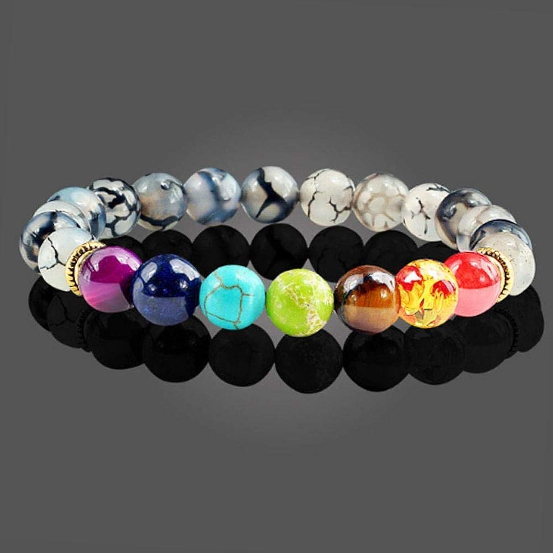 Zicue Stylish Charming Bracelet Exquisite Ornaments Volcanic stone Hand series Yoga bracelet bead diameter 8mm natural stone elastic Bracelet ( color   D )