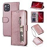 ZTOFERA iPhone 11 Pro Hülle, Magnetisch Folio Flip Wallet Leder Standfunktion Reißverschluss schutzhülle mit Trageschlaufe, Brieftasche Hülle für iPhone 11 Pro 5.8 Zoll - Roségold