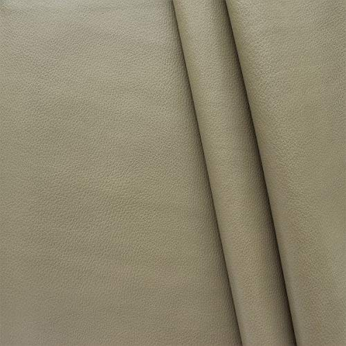 STOFFKONTOR Polster PVC Kunstleder, Polsterstoff in Rindsleder Optik, Möbelstoff Meterware - Grau-Beige - für sämtliche Polsterarbeiten, Autos, Boote, Dekorationen
