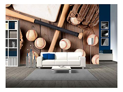 wall26 - Baseball Equipment on a Rustic Wood Surface. Items Include, Baseballs, Bats, Home Plate - Removable Wall Mural | Self-adhesive Large Wallpaper - 66x96 inches
