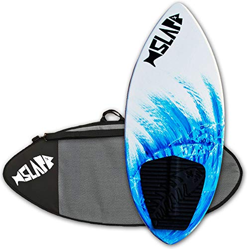 """Slapfish Skimboards USA Made Fiberglass & Carbon - Riders up to 200 lbs - 48"""" with Traction Deck Grip - Kids & Adults - 4 Colors (Blue + Board Bag)"""