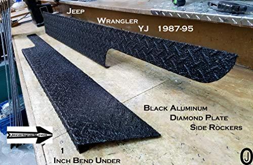 "Fits with JEEEP YJ Wrangler 6"" black Diamond plate Rocker Panels with / 90° 1 inch lip"